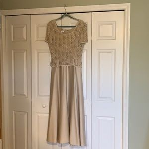 Dress.      Beige Beaded long evening dress.